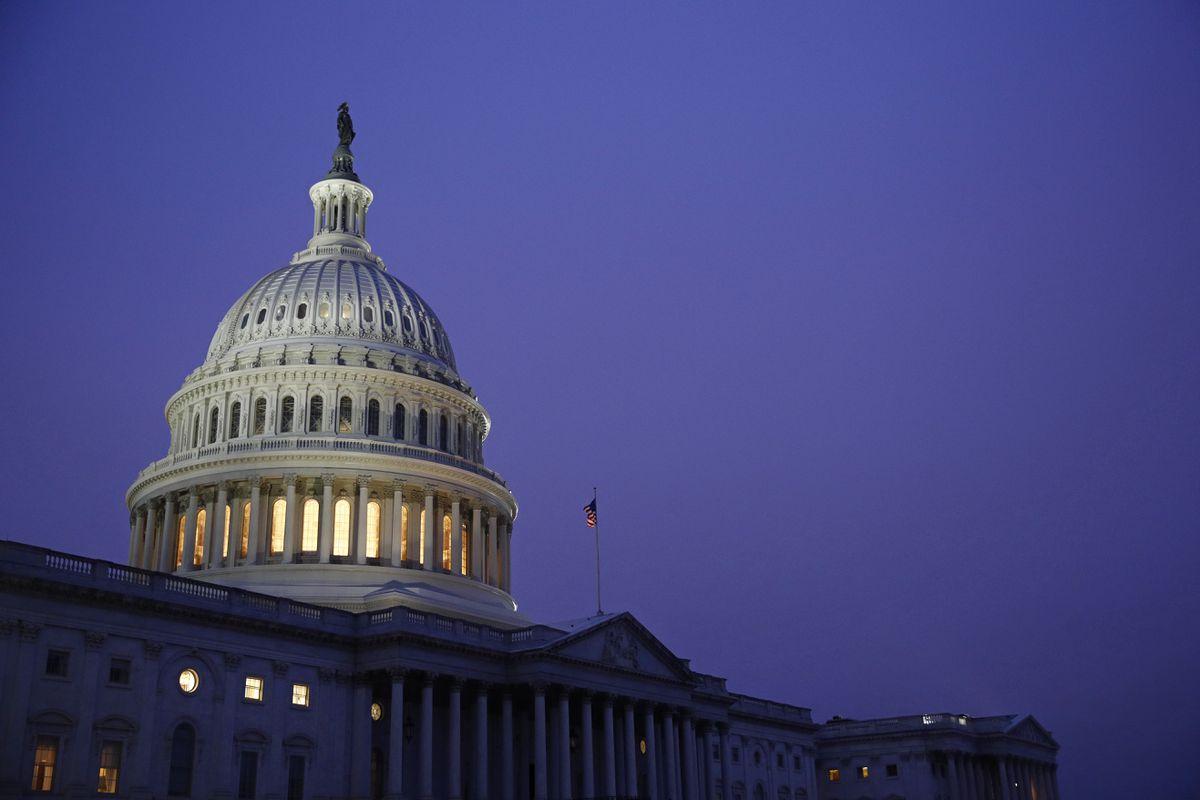 Light shines on the U.S. Capitol dome Friday, Dec. 13, 2019, on Capitol Hill in Washington. (AP Photo/Patrick Semansky)