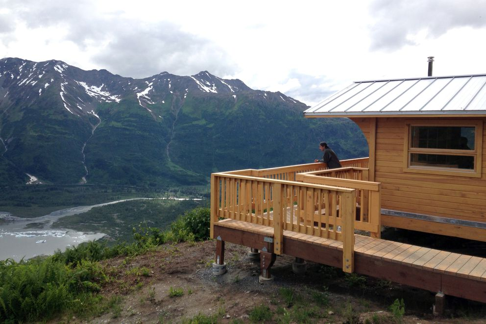 The Spencer bench cabin is perched high above the surrounding landscape and Spencer Glacier. (Nathaniel Herz / ADN)