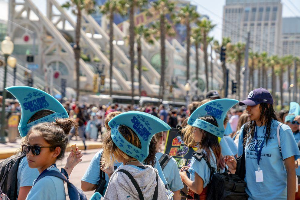 Shark Week giveawaysat Comic-Con Internationallast week in San Diego. (Christy Radecic/ Invision/AP)