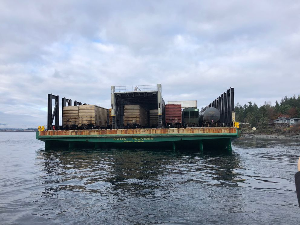 The Nana Provider hit ground near Quadra Island Saturday night in British Columbia. Crews were working Monday to refloat the Alaska barge. (Photo provided by the Canadian Coast Guard.)