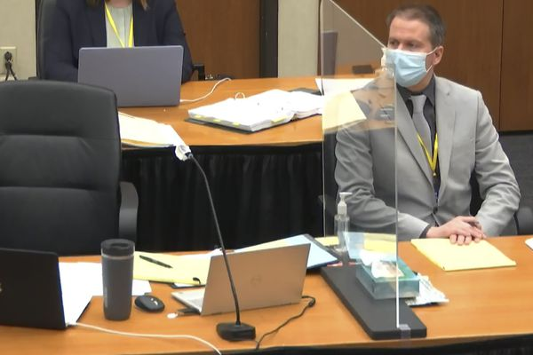 In this image from video, defendant, former Minneapolis police Officer Derek Chauvin, listens as Hennepin County Judge Peter Cahill presides Friday, April 9, 2021, in the trial of Chauvin at the Hennepin County Courthouse in Minneapolis, Minn. Chauvin is charged in the May 25, 2020 death of George Floyd. (Court TV via AP, Pool)