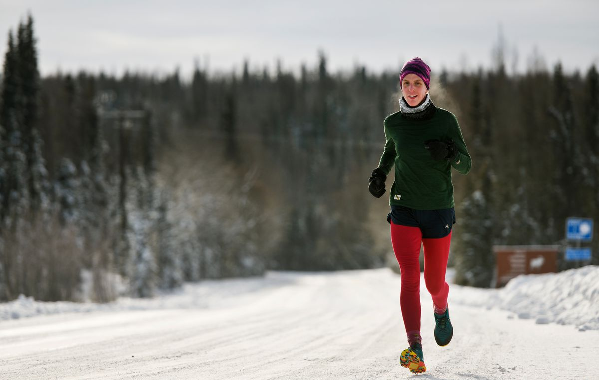 Marathon runner Megan Youngren trains on a Soldotna road on Feb. 14, 2020. Megan Youngren, 28, qualified in December for the U.S. Olympic Marathon Trials. Her entry in the Feb. 29 race in Atlanta is pending, but if it is approved, it's believed she would becomethe first openly transgender athlete to compete in the U.S. marathon trials, according to a USA Track & Field spokeswoman. (Marc Lester / ADN)