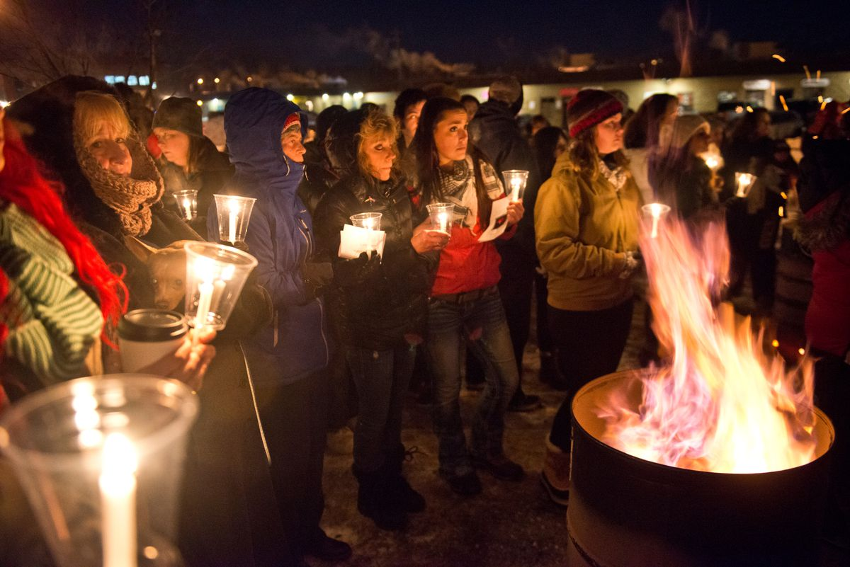 About 100 people gathered at Nunley Park in Wasilla on Tuesday, January 10, 2017, to honor people lost to heroin and opioid addiction and the families they left behind. John Green helped organize the event to fall on the one-year anniversary of the death of his daughter, Kellsie Green. (Marc Lester / Alaska Dispatch News)