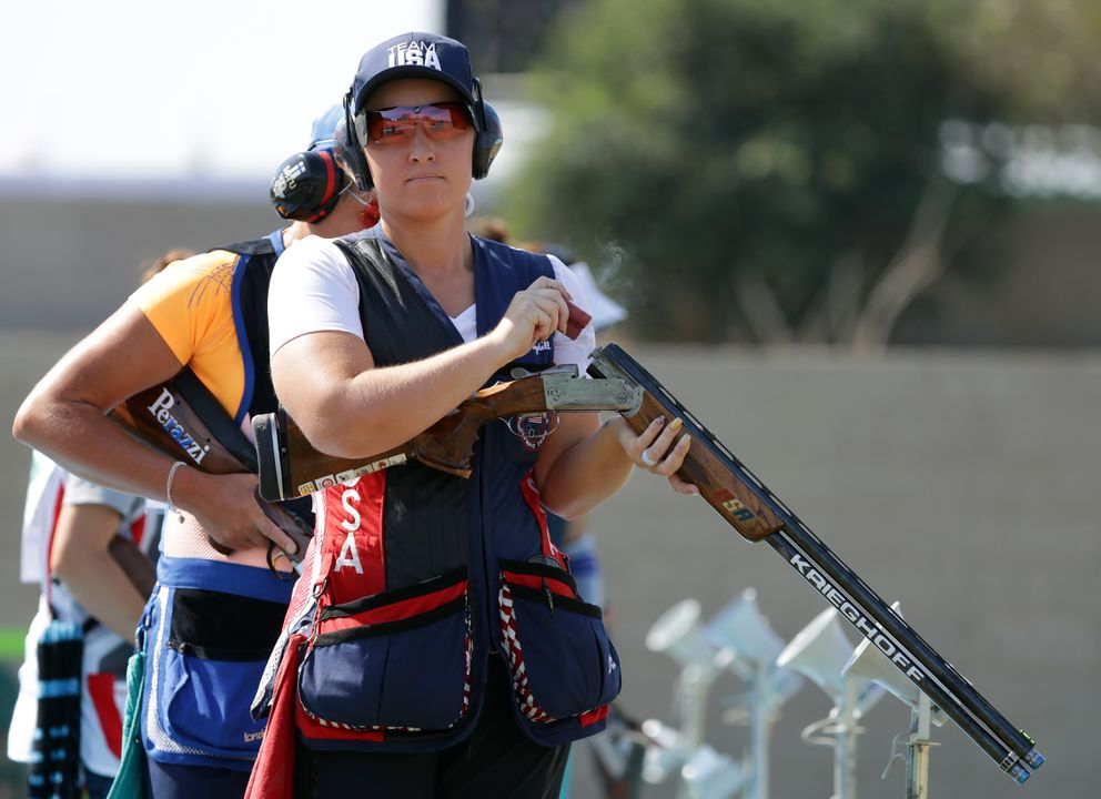 Corey Cogdell-Unrein shoots during the women's trap qualification Sunday at the Summer Olympics. (Matt Kryger / USA Today Sports)