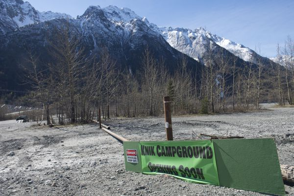 A private campground is being developed along the Knik River near the Old Glenn Highway. Jim Parker, who owns the campground land, said he hopes the development will help keep the area clean. Photographed on April 30, 2019. (Marc Lester / ADN)