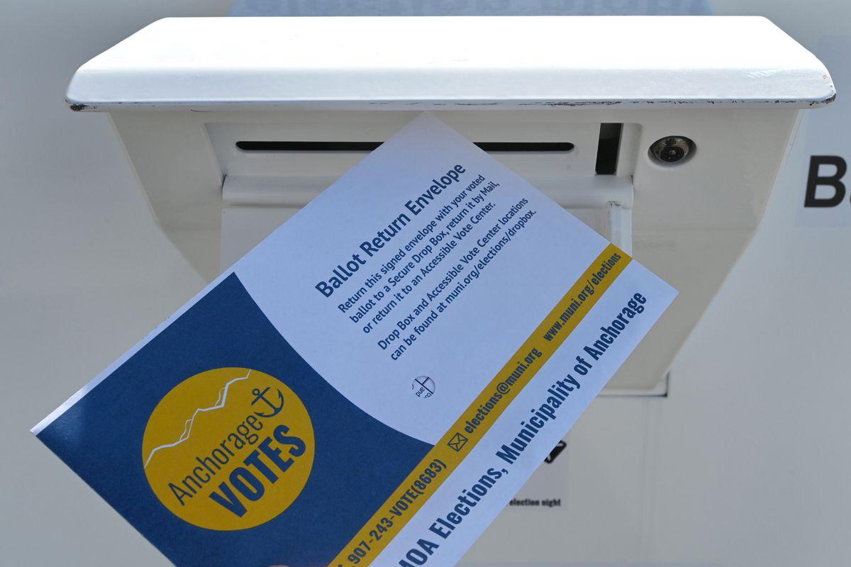 Ballot Drop Box at the Loussac Library during the regular municipal election on Monday, April 6, 2020. (Bill Roth / ADN)