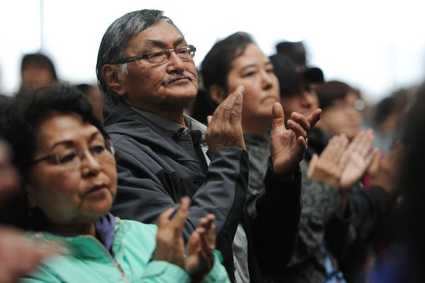 People applaud Lt. Gov. Byron Mallott after his speech on the Alaska state budget during a speech to delegates gathered on the opening day of the Alaska Federation of Natives Convention at the Dena'ina Center in Anchorage on Thursday, Oct. 19, 2017. (Bill Roth / Alaska Dispatch News)