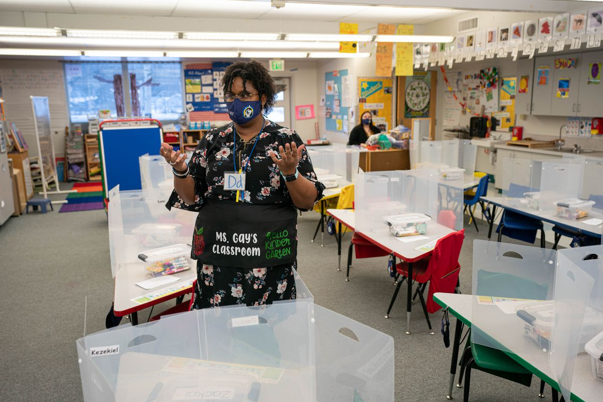 Rhiana Gay stands in her kindergarten classroom at Creekside Park Elementary on Friday, Jan. 15, 2021. Ms. Gay's students will return to in-person learning on Tuesday, Jan. 19. (Loren Holmes / ADN)