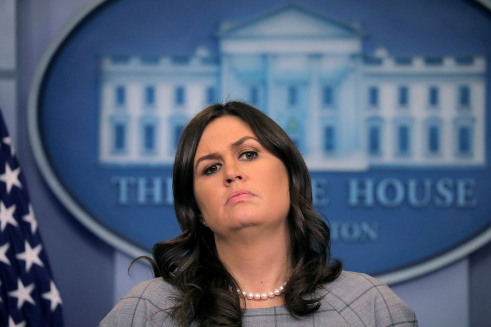 U.S. White House Press Secretary Sarah Huckabee Sanders holds the daily briefing at the White House in Washington, DC, U.S. January 3, 2018. REUTERS/Carlos Barria