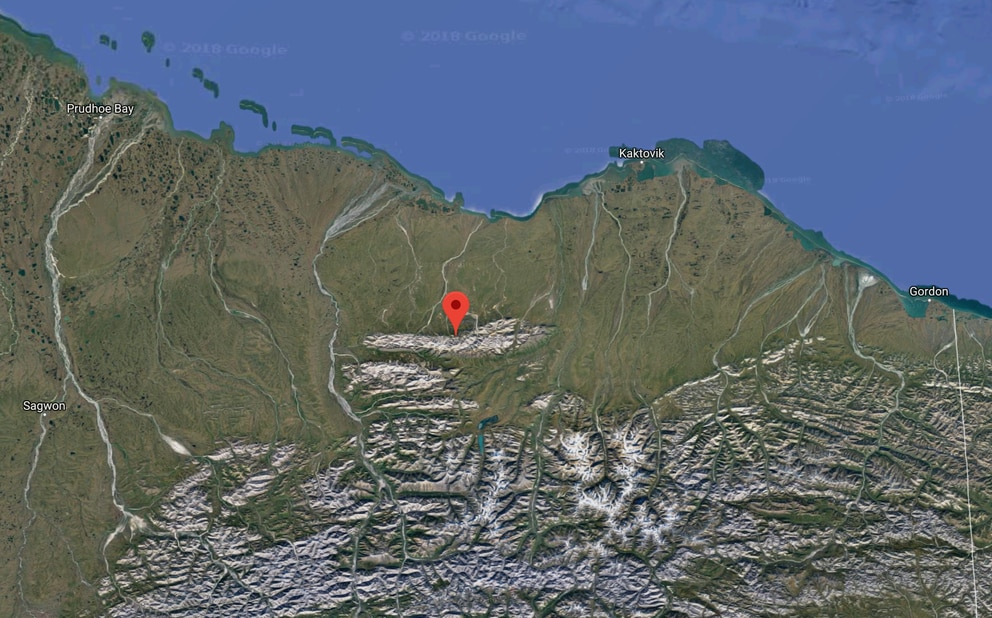 Location of Sunday's earthquake in northeast Alaska.