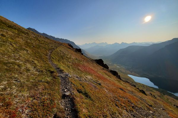 A sheep trail winds through autumn colors on the way to The Ramp on the day Sam Volk climbed the 12 highest peaks in the Chugach front range on Saturday, Aug. 24, 2019. (Photo by Sam Volk)