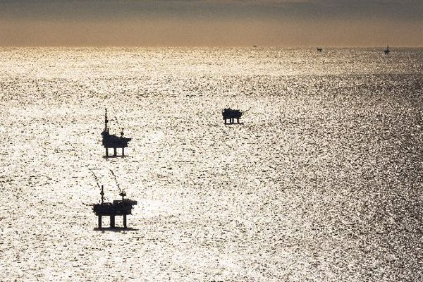 Offshore oil platforms in Cook Inlet. (LOREN HOLMES / ADN archive 2012)