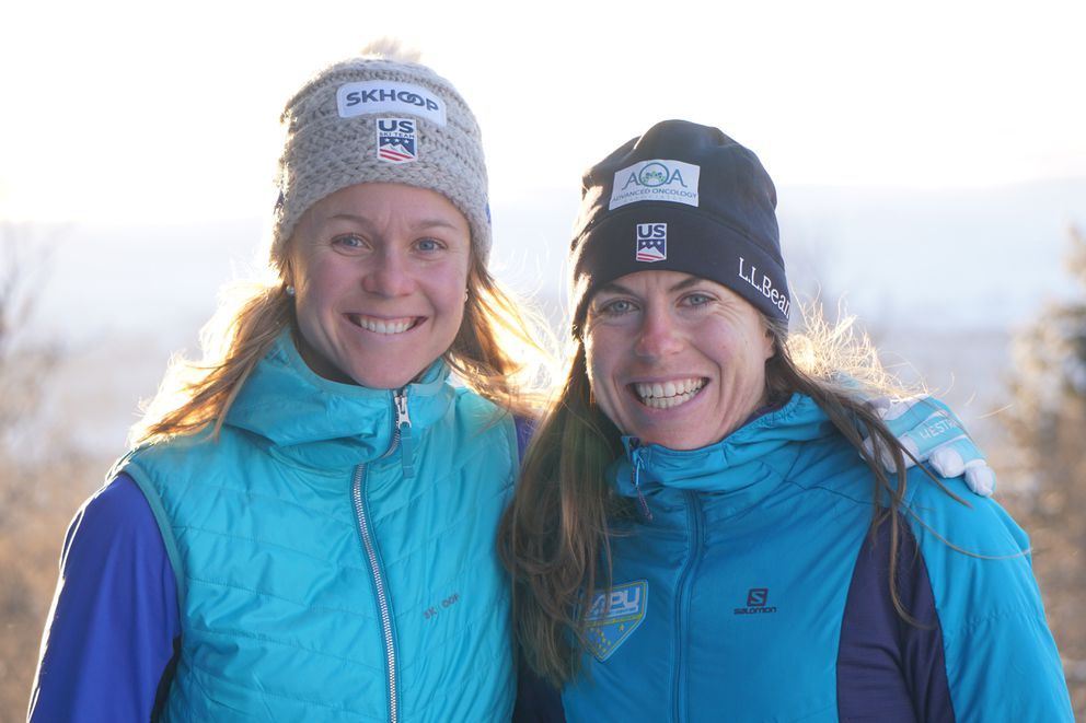 Anchorage skiers Sadie Bjornsen, left, and Rosie Brennan missed the earthquake but followed the news from Norway. (Photo by Caitlin Patterson)