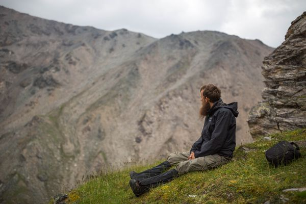 National Park Service soundscape specialist Davyd Betchkal listens to the sounds of the Denali Park wilderness on July 17, 2016. Betchkal's job is to record natural sounds from Alaska's national parks, and identify identify human-made sounds that are impacting the natural soundscape. (Loren Holmes / Alaska Dispatch News)