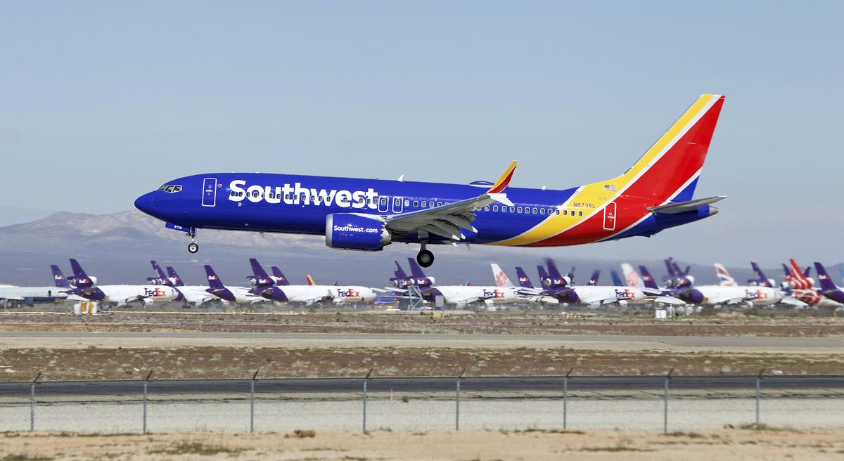 A Southwest Airlines Boeing 737 Max aircraft lands at the Southern California Logistics Airport in Victorville, Calif. (AP Photo/Matt Hartman, File)