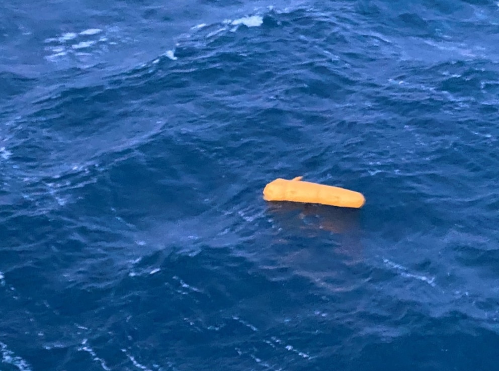 Inflated yellow pop-out float believed to be from Andy Teuber's helicopter. (Photo courtesy of the US Coast Guard)