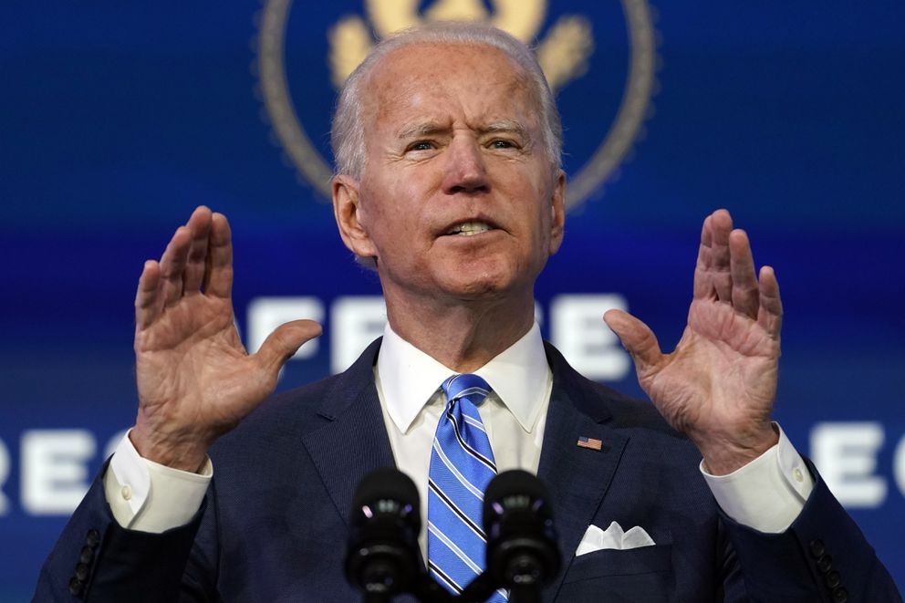 President-elect Joe Biden speaks about the COVID-19 pandemic during an event at The Queen theater, Thursday, Jan. 14, 2021, in Wilmington, Del. (AP Photo/Matt Slocum)