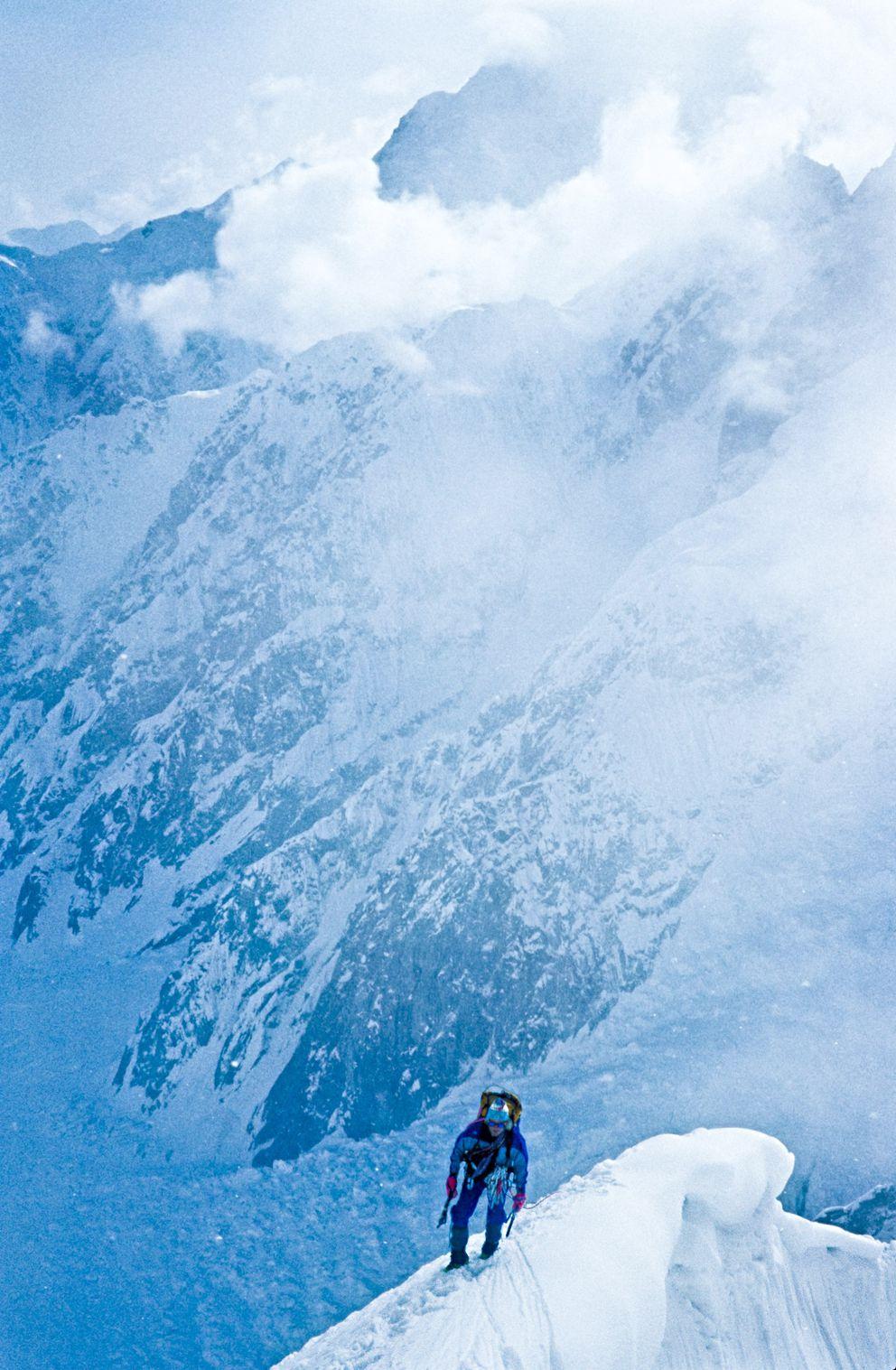 Keith Echelmeyer climbs Mount Huntington. (Photo courtesy of Susan Campbell)