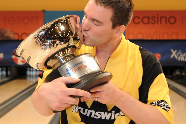 Sean Rash of Anchorage reacts after winning April's PBA Tournament Of Champions in Las Vegas, a victory that vaulted him to the 2012 Player of the Year honors in the PBA. (Courtesy of the Professional Bowlers Association)