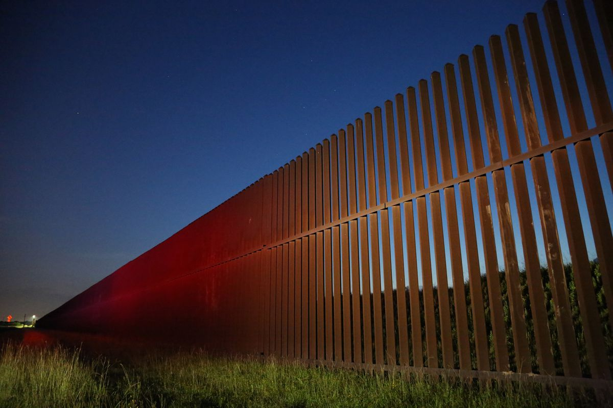 The U.S. Mexico border wall in Brownsville, Tex., at dawn. Washington Post photo by Zoeann Murphy.