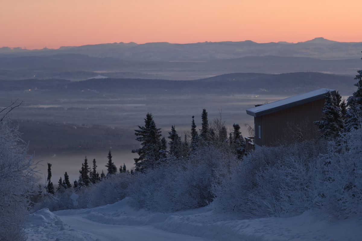 The road to Ester Dome gives a view of the Fairbanks area on Jan. 8, 2020. (Marc Lester / ADN)