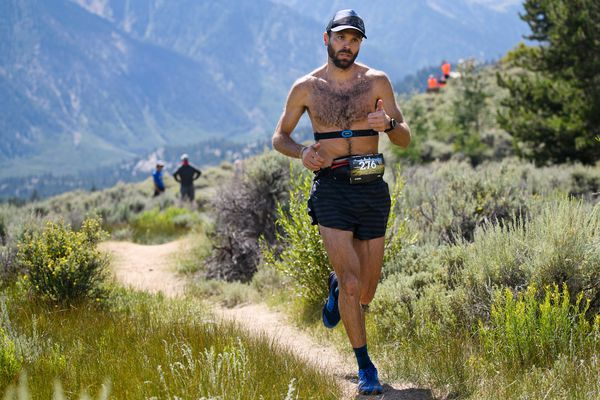 Chad Trammell reaches the Twin Lakes Aid Station area, about 62.5 miles into the Leadville 100 Trail Run near Leadville, Colorado, on August 17, 2019. Trammell was in second place at that point in the ultra-marathon race.(Marc Lester / ADN)