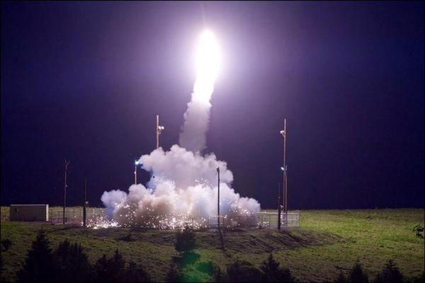 File photo of Terminal High Altitude Area Defense (THAAD) interceptor launched from the Pacific Spaceport Complex Alaska during Flight Test THAAD (FTT)-18 in Kodiak, Alaska, U.S., July 11, 2017. (Leah Garton/Missile Defense Agency via Reuters)