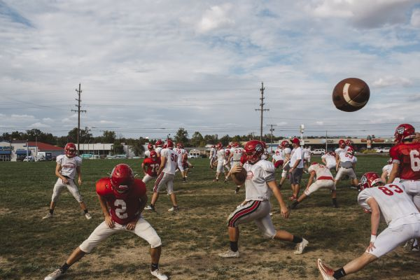 A football practice at Madison High School in Madison, Ind., Oct. 4, 2017. Madison, a picturesque town on the Ohio River, has been hit especially hard by the opioid crisis, with a suicide rate three times the national average. For many on the team, football, even a 1-9 season, has been their oasis. (Andrew Spear/The New York Times)