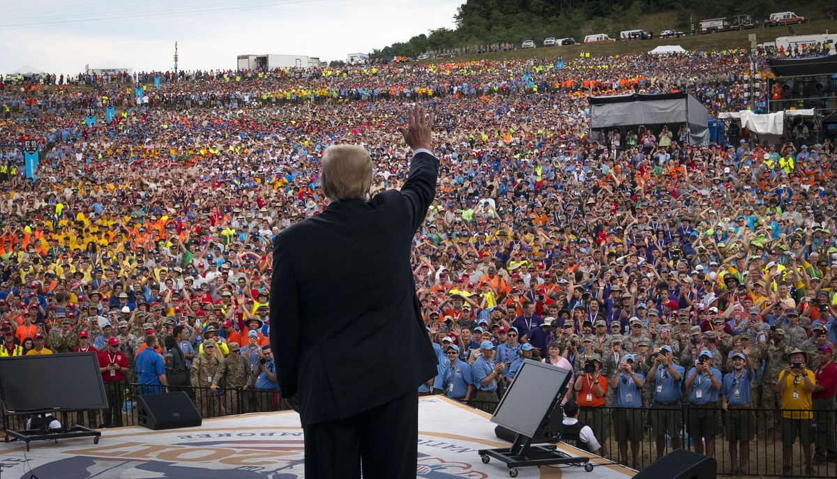 President Donald Trump at the Boy Scouts of America's 2017 National Scout Jamboree at the Summit Bechtel National Scout Reserve in Glen Jean, W.Va., July 24, 2017. Political remarks by Trump at the event have enraged many parents and former Scouts, thrusting the Scouts once again into the middle of the nation's culture wars. (Doug Mills/The New York Times)