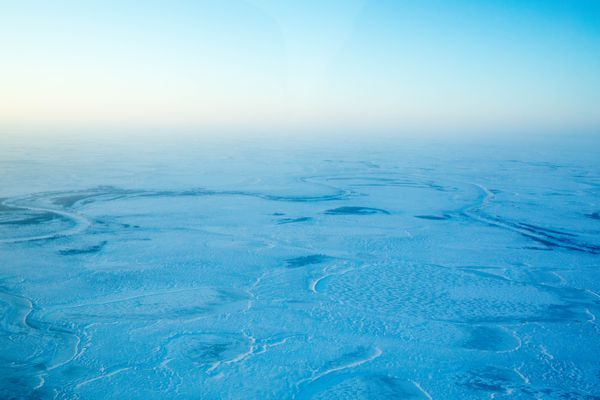 The frozen tundra west of Tuluksak, Alaska on Saturday, Jan. 21, 2017. (Loren Holmes / Alaska Dispatch News)