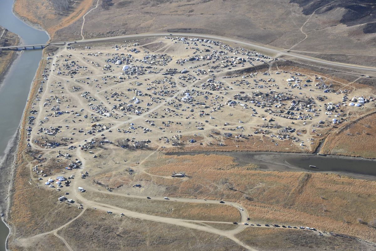 Dakota Access Pipeline protesters are seen at the Oceti Sakowin campground near the town of Cannon Ball, North Dakota in an aerial photo provided by the Morton County Sheriff's Department. (Morton County Sheriff's Department / Handout via Reuters)