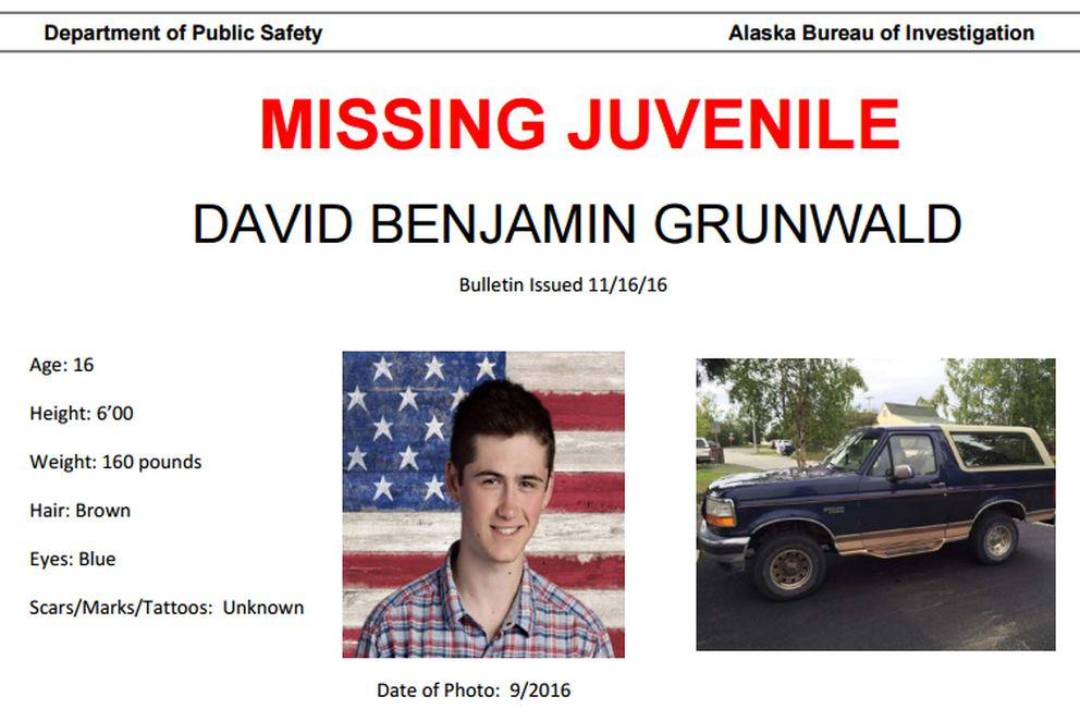 David Grunwald is missing. Alaska State Troopers are asking for help with finding Grunwald and anyone who has seen him or his 1995 Ford Bronco.