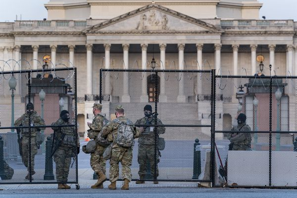 National Guard troops keep watch at the Capitol in Washington, early Thursday, March 4, 2021, amid intelligence warnings that there is a