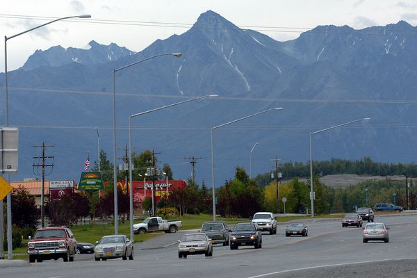 The Parks Highway, which connects Anchorage to Fairbanks, runs through downtown Wasilla, Alaska in this file photo from Aug. 31, 2008. (Jim Lavrakas / ADN archive)