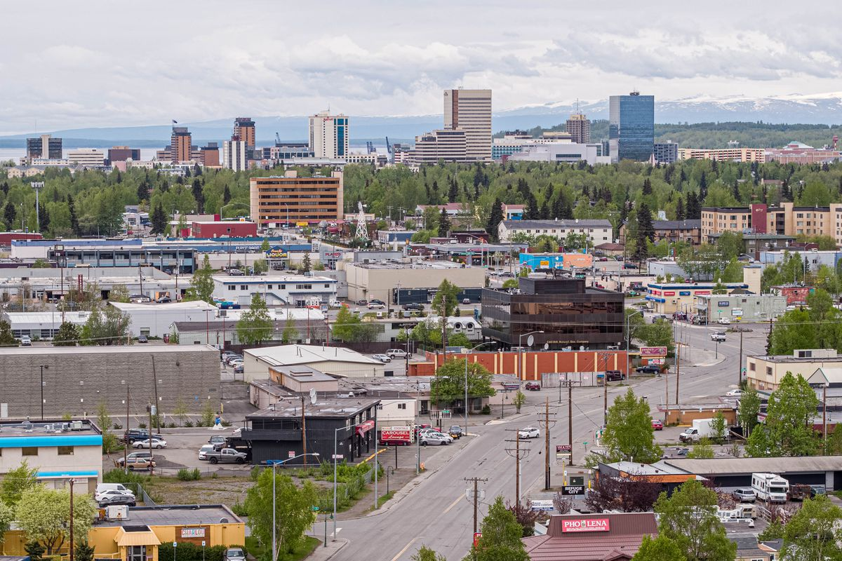 Downtown Anchorage, seen from Spenard Road on Friday, May 22, 2020. (Loren Holmes / ADN)