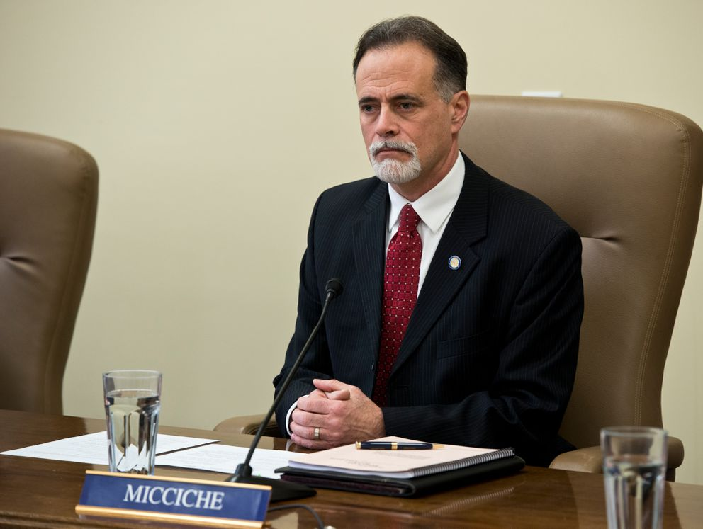 Soldotna Republican Peter Micciche sits at a news conference in January. (Marc Lester / Alaska Dispatch News)