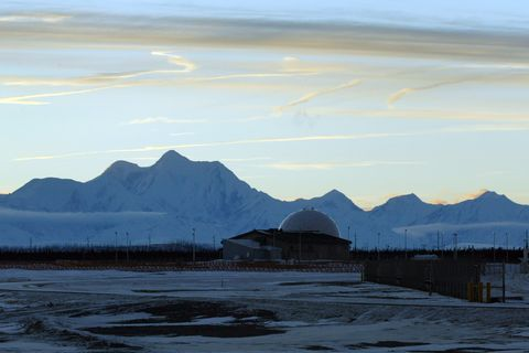 (NYT14) FORT GREELY, AK -- December 9, 2006 -- -ALASKA-MISSILES-2 -- The Defense Satellite Communications System building at Fort Greely, Alaska, seen on Dec. 4, 2006, is part of a ground-based missile defense system being built there. (Eric Engman/The New York Times)