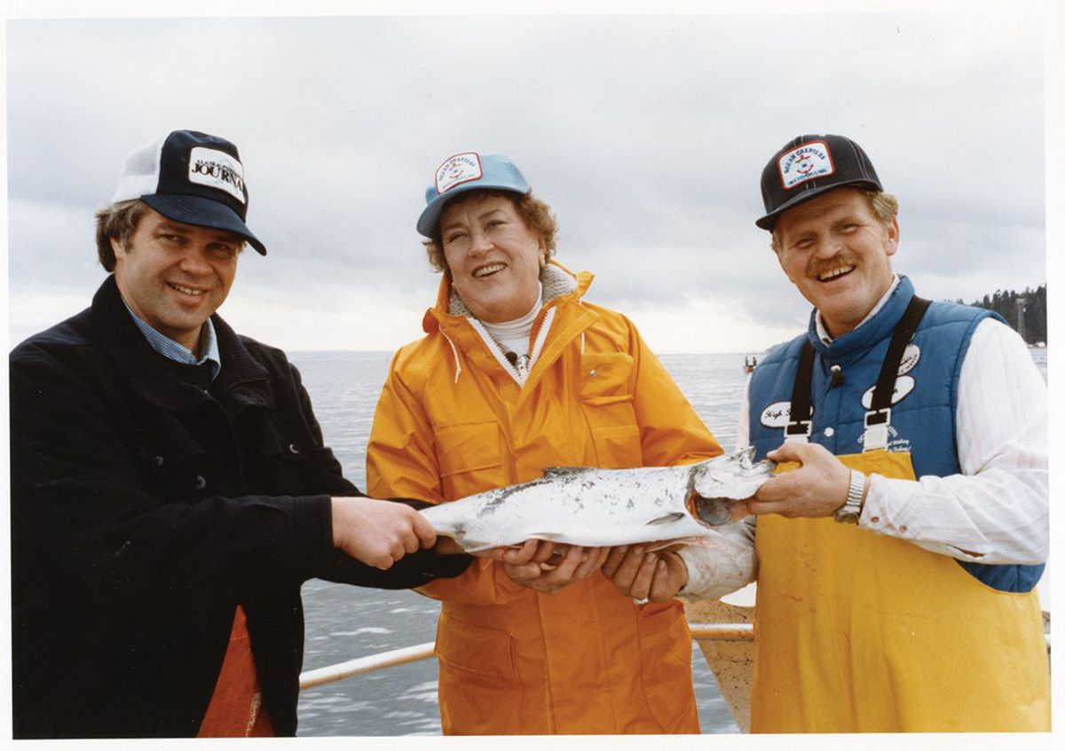"Jon Rowley, left, took Julia Child fishing when she was researching her 1983 ""Dinner With Julia"" PBS show, starting a friendship that lasted until her death in 2004. (Courtesy of Jon Rowley via Washington Post)"