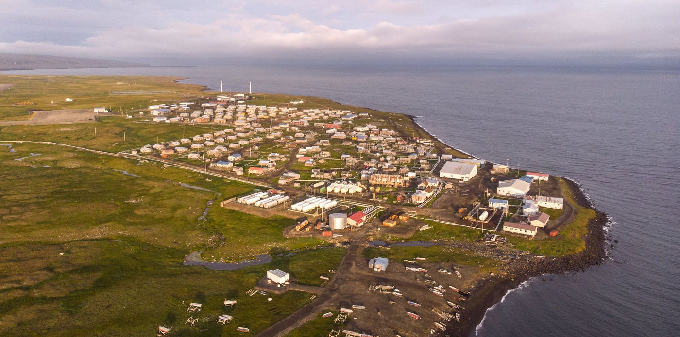 The Yupik village, Savoonga on St. Lawrence Island in Alaska. (Steve Ringman / The Seattle Times)