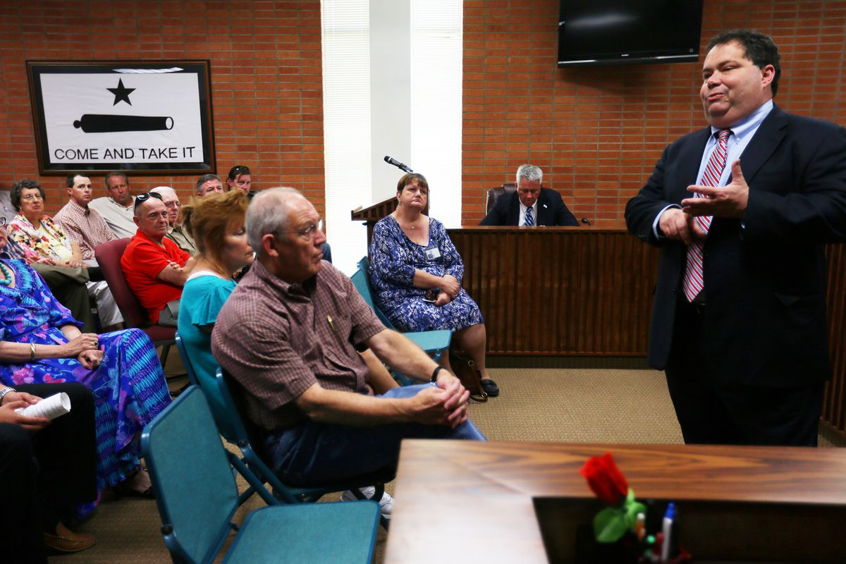 Rep. Blake Farenthold (R-Texas) during a town hall meeting in Gonzales, Texas, in 2013. (Jennifer Whitney/The New York Times)