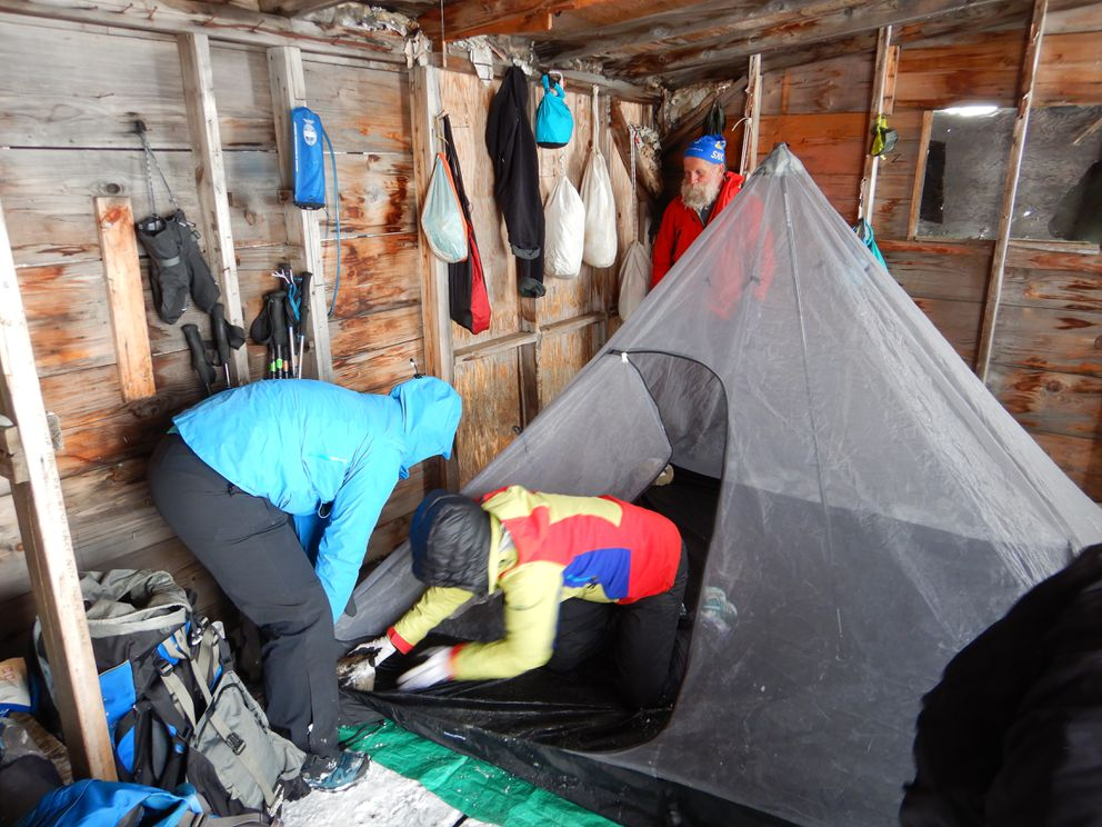 The Brooks found an old hunting cabin on the north fork of the Koyukuk River to spend a chilly night in.  (Photo by Scott Brooks)