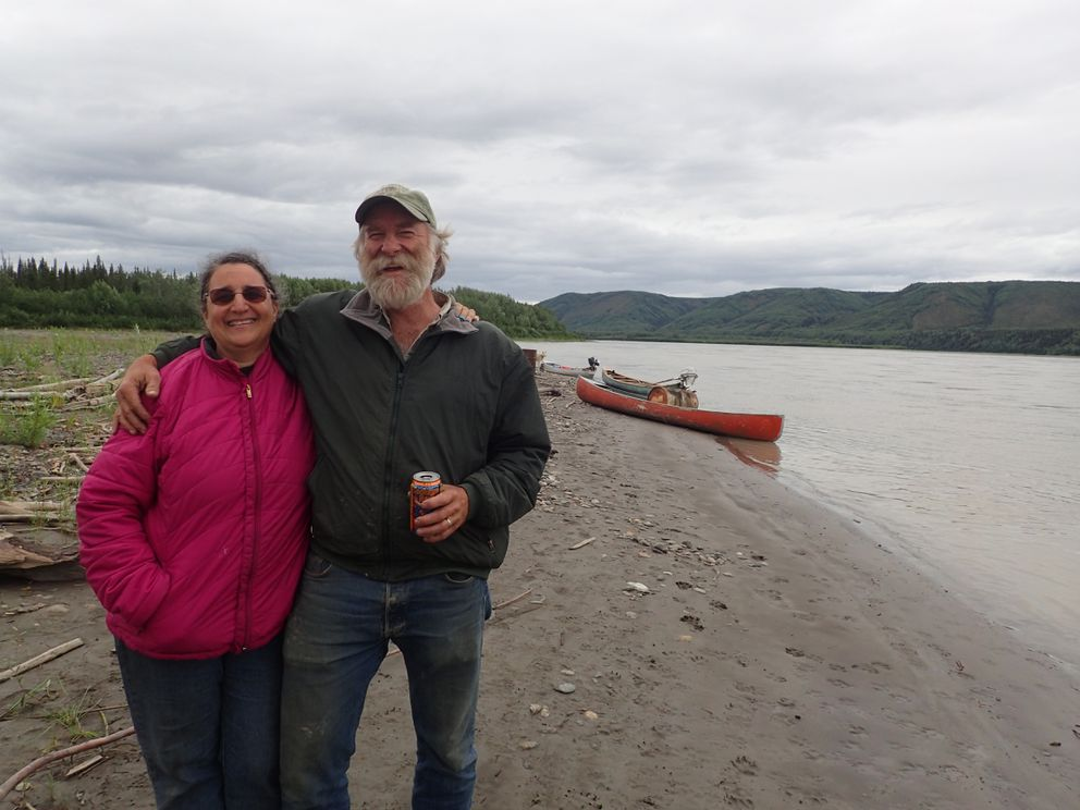 Karen Kallen-Brown and Randy Brown at their fish camp on the Yukon River. (Photo by Ned Rozell)