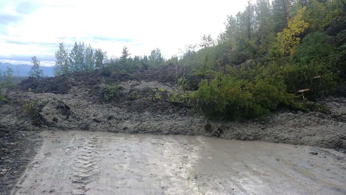 McCarthy Road was closed Tuesday due to mud slide at Mile 58. It was partially reopened Wednesday morning. (Photo courtesy of Dan Frost via Alaska 511)