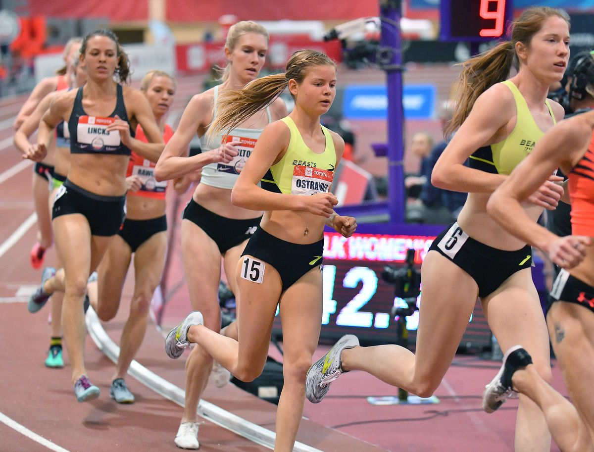 Allie Ostrander (15) competes in the women's 3,000-meter race at the 2020 USA indoor track and field championships in Albuquerque, New Mexico. Ostrander finished seventh in the race. (Photo by Sam Wasson for Anchorage Daily News)