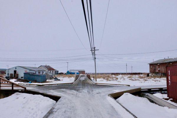 An Eek boardwalk in February 2019. (Anna Rose Macarthur / KYUK)