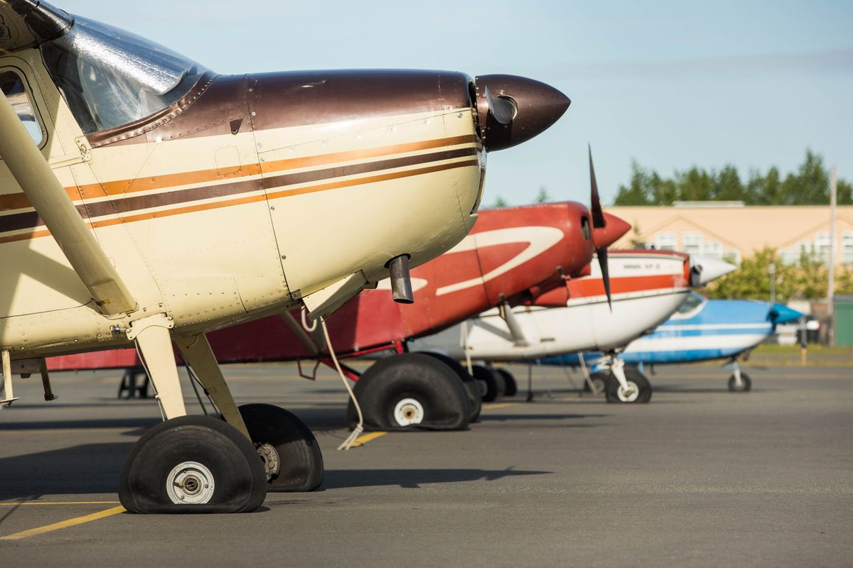 A row of airplanes sit with flat tires at Merrill Field on Thursday morning. Scores of planes had tires slashed overnight at the airport. (Loren Holmes / Alaska Dispatch News)