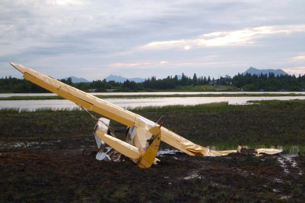This Super Cub crashed after losing power shortly after takeoff from Shannon's Pond in Dillingham Monday. The pilot and a passenger were unhurt.