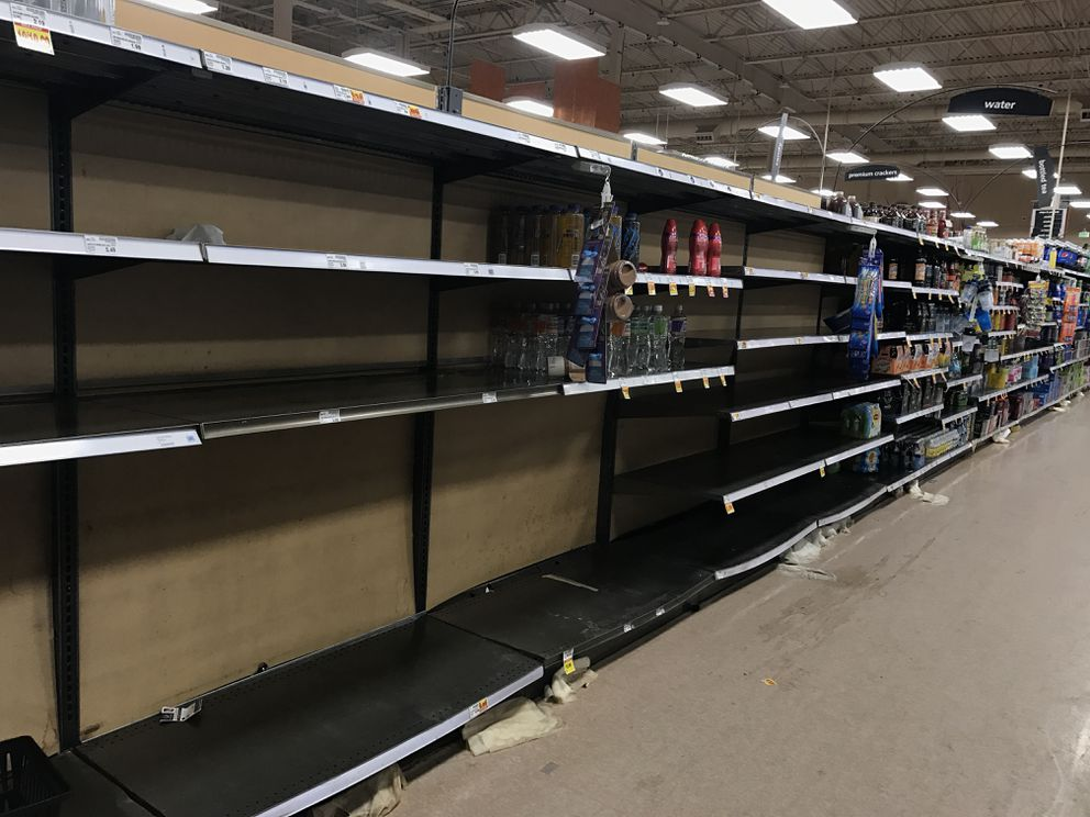 Shelves for water were empty at the Fred Meyer in Midtown Anchorage on Nov. 30. 2018. (Annie Zak / ADN)