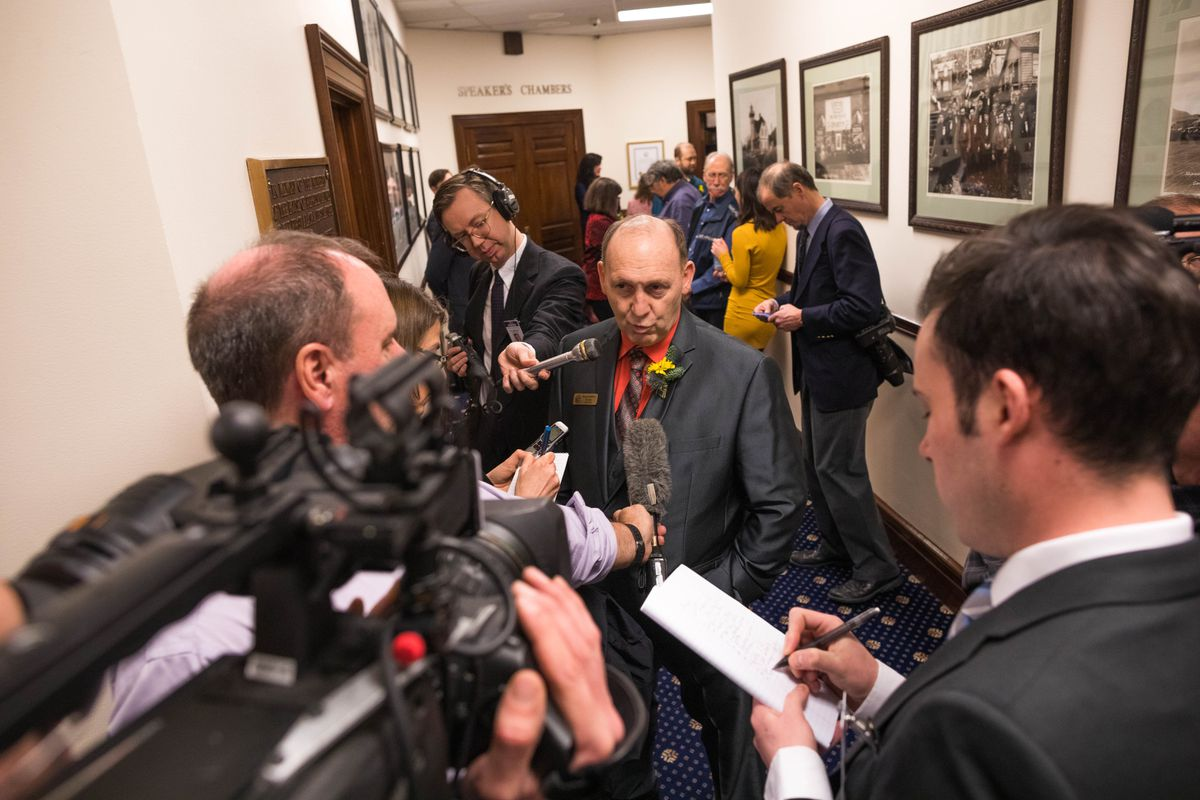 Rep. Gary Knopp, R-Kenai, talks with reporters during a recess Tuesday, Jan. 15, 2019 at the Alaska State Capitol. Knopp left the 21-member majority, triggering a scramble to come up with a bipartisan majority that has ground work at the House to a halt. (Loren Holmes / ADN)