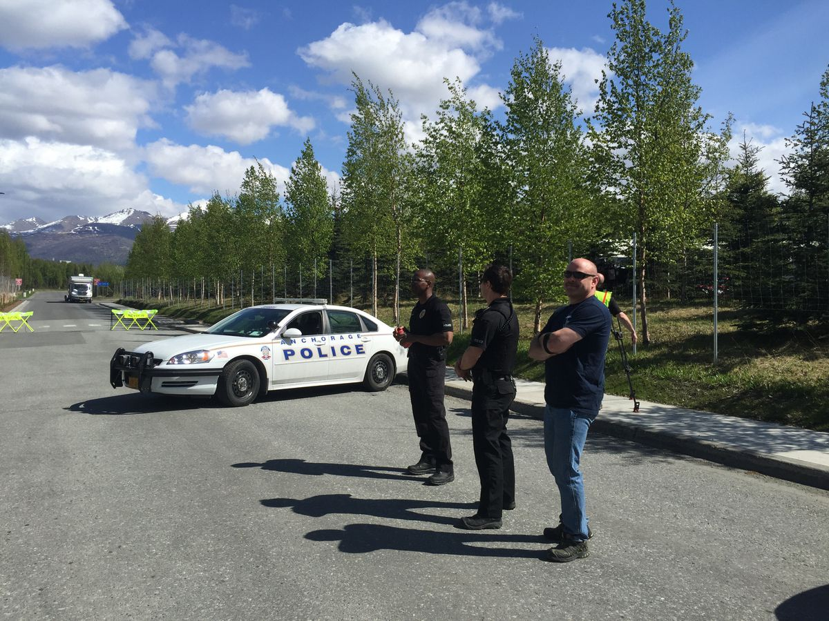 "Public access to the Anchorage Police Department headquarters and parking lot was blocked Tuesday after a man dropped off what he called a ""homemade bomb"" his friend had made. (Michelle Theriault Boots / Alaska Dispatch News)"